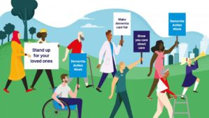 Illustration showing a group of people campaigning for dementia action week 2021 with grass and sky backdrop