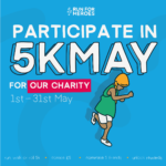 Participate in 5K May for Libraries Unlimited wording with illustration of a runner