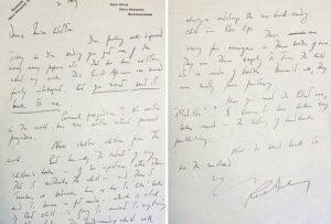Roald Dahl's handwritten letter to Christina Phillips